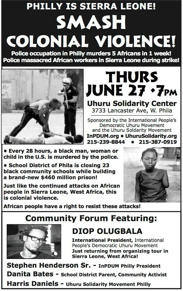 Philly is Sierra Leone! Smash Colonial Violence! EVENT in Philadelphia ...