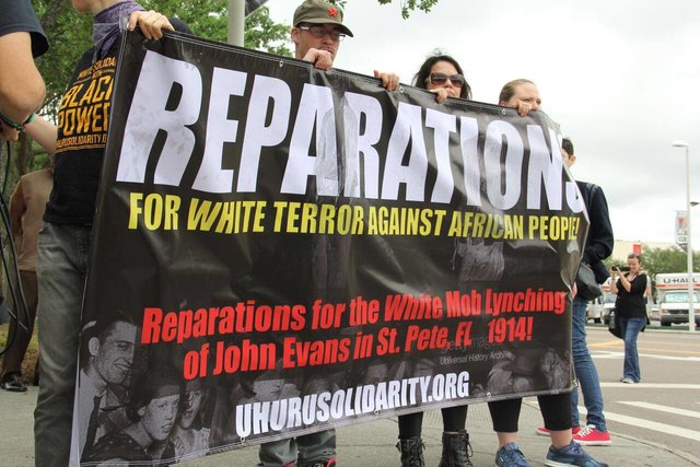 reparations banner at convention