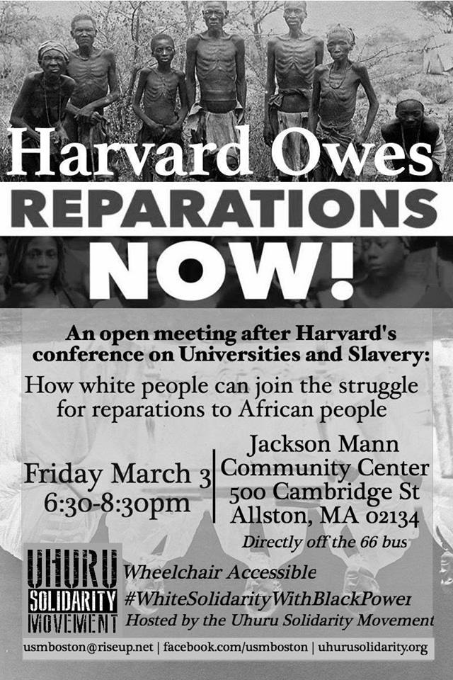 Harvard Owes Reparations Now